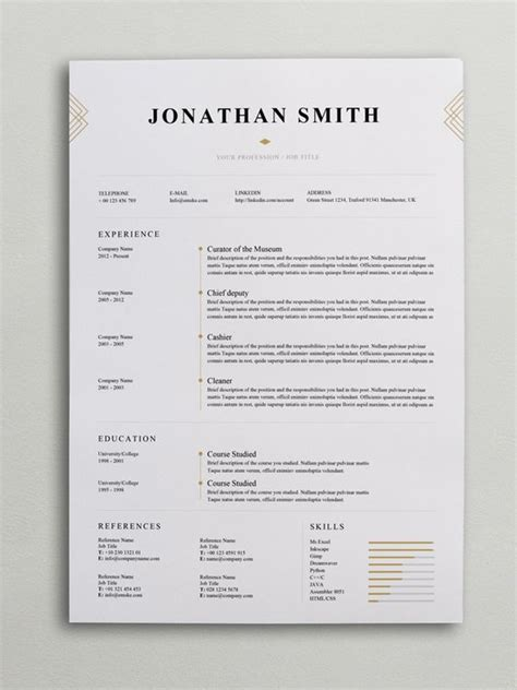 elegant resume template word psd internet fun