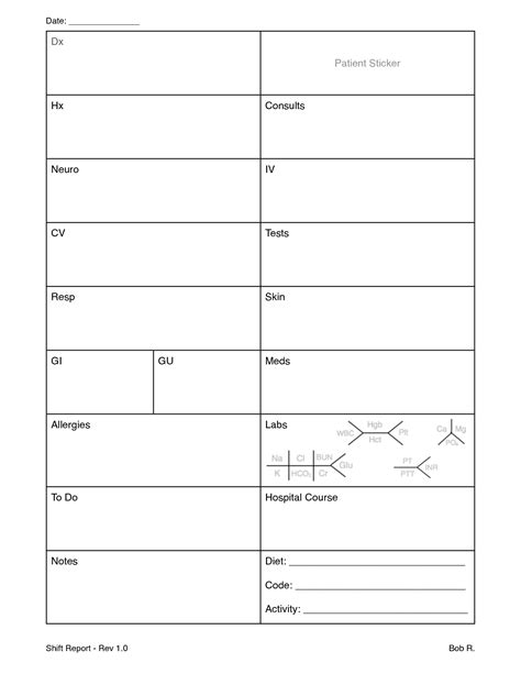patient report sheet templates nursing report sheet amazing idea to keep organized as a
