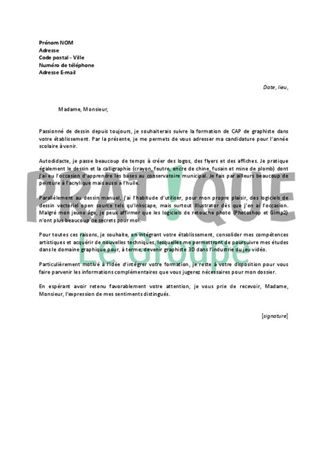 Lettre De Motivation De Graphiste Lettre De Motivation Pour Un Cap Graphiste Pratique Fr
