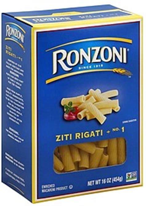 whole grain ziti pasta ronzoni ziti rigati no 1 16 0 oz nutrition information