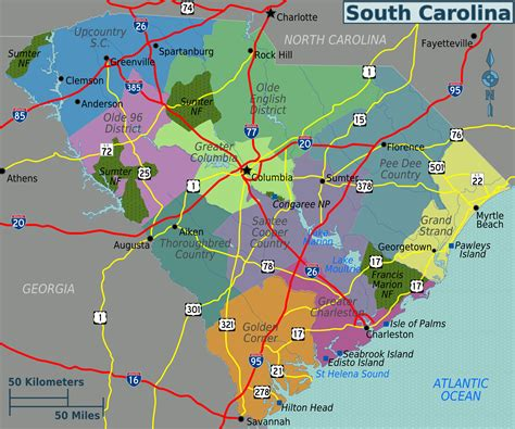 map usa carolina map of south carolina touristic map worldofmaps net