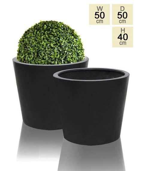 black polystone planter large h40cm x dia 50cm