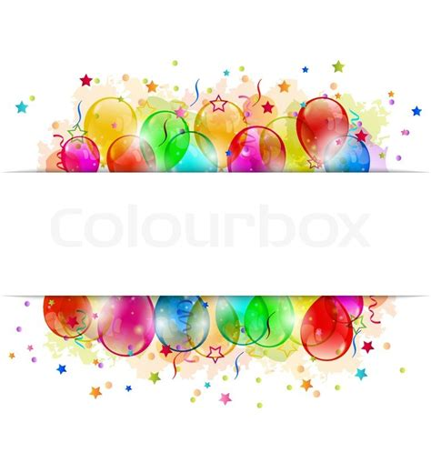 Felice Ribbon Top illustration set balloons confetti with space for