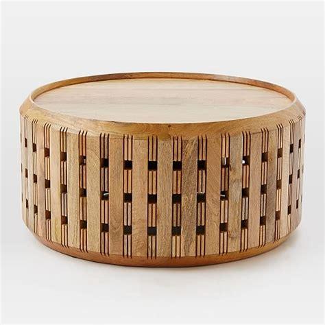 wood drum coffee table pierced wood drum coffee table elm