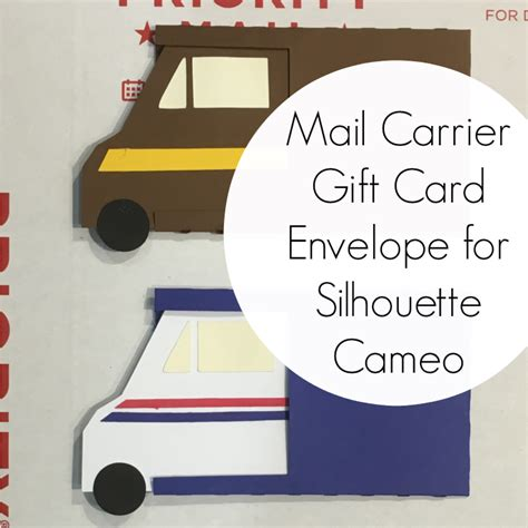 free mail carrier gift card envelope cut file for