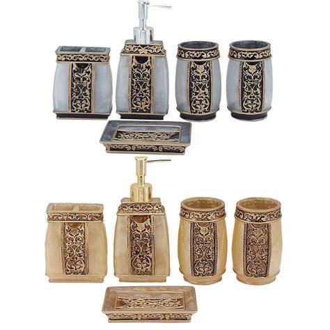 European Bathroom Accessories 5pcs European Retro Engraved Resin Bath Series Set Bathroom Accessory Soap Dispenser Soap