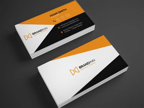 Modern Tri Color Business Card Template For Professional by Creative Orange Business Card 23 Graphic