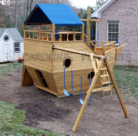 wooden boat swing set pirate ship playhouse plans home 187 outdoor wooden