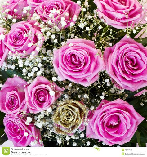 Tiff Bloom Bouquet By Velcris One one gold and vibrant pink roses flower bouquet royalty
