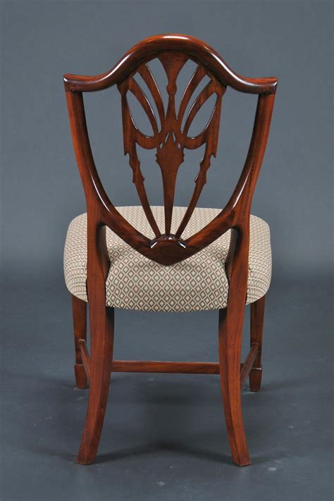 shield back dining room chairs in solid mahogany swag splats