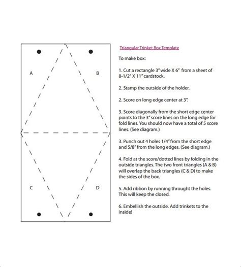 pattern for triangle box triangle box template 15 free sle exle format