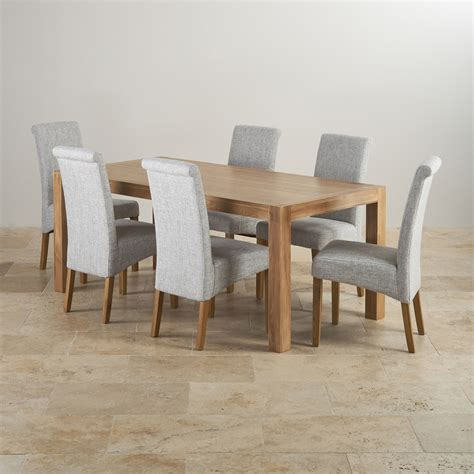 Dining Table And Fabric Chairs Alto Solid Oak 6ft Dining Table With 6 Grey Fabric Chairs