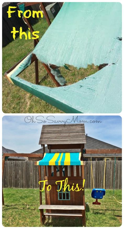 swing set repair easy diy swing set canopy replacement oh so savvy mom