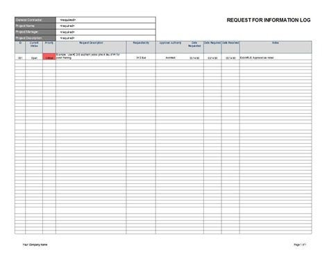 Request For Information Rfi Log Cms Construction Rfi Template