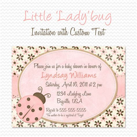 Pink Ladybug Baby Shower by Pink Ladybug Baby Shower Invitation Birthday Invite