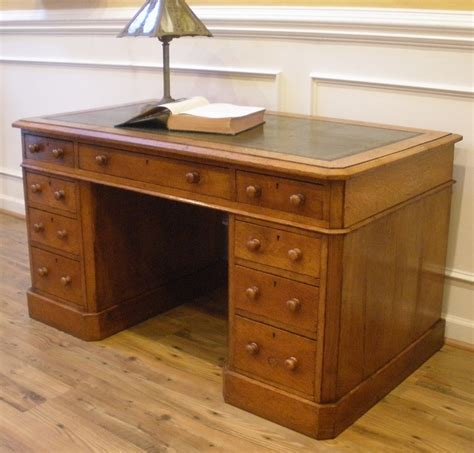 ori furniture cost large antique english oak leather top knee hole desk for