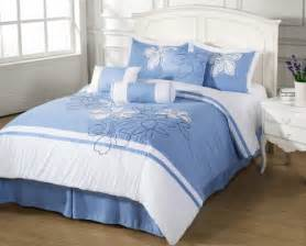 Blue And White Bed Set 7pc Comforter Set Applique Embroidery Light Blue White Floral Stripes King Size Bedding