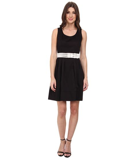 calvin klein fit flare dress w wide belt 6pm