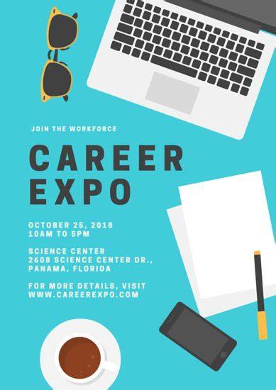 design poster program blue career laptop illustration school poster flyer