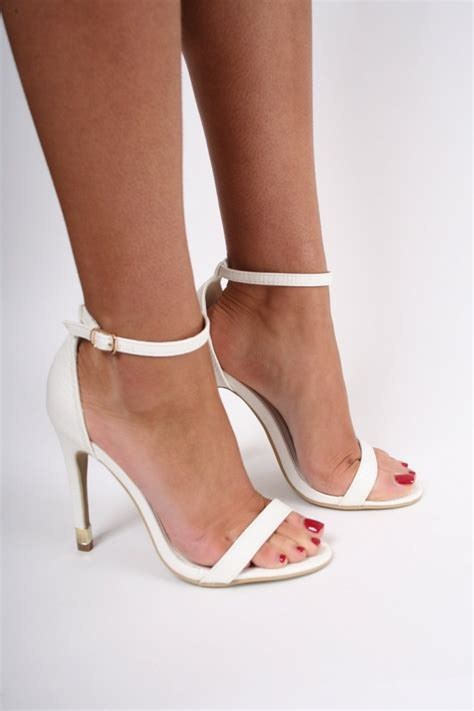 White Lizard Barely There Strappy Heels   Shoes from