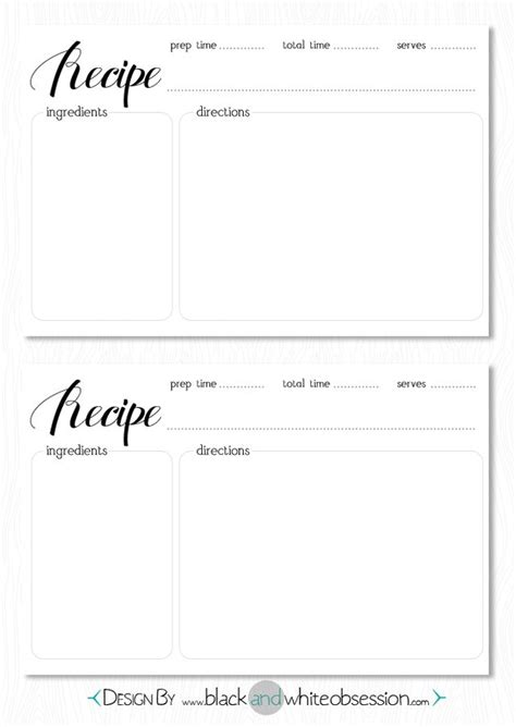 Free Black And White Recipe Card Template Word by Best 25 Printable Recipe Cards Ideas On