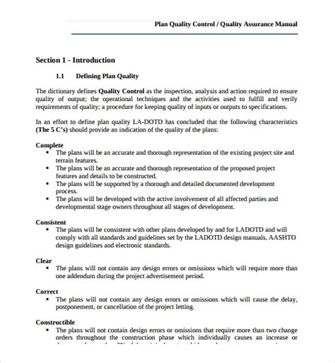 sample quality management plan free download