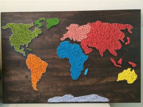 String World Map - world map string by craftedontheplains on etsy