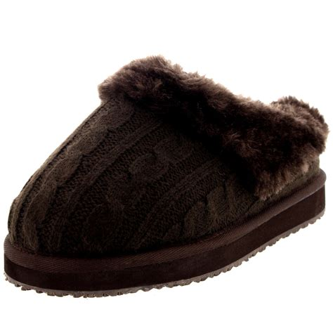 winter house slippers womens knitted cardy classic fur lined warm slip on winter house slippers 3 10 ebay