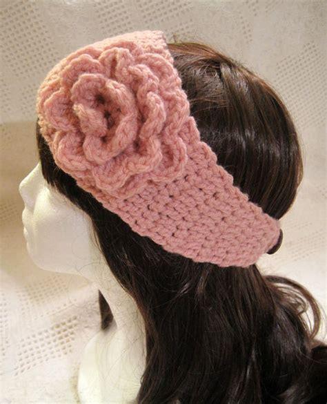 items similar to crocheted flower headband on etsy items similar to crochet flower ear warmer in