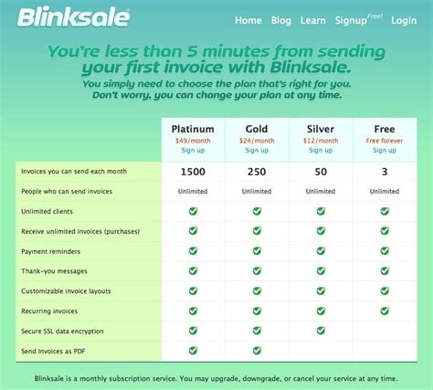 pricing table design pattern pricing table design pattern exle at blinksale 34 of 195