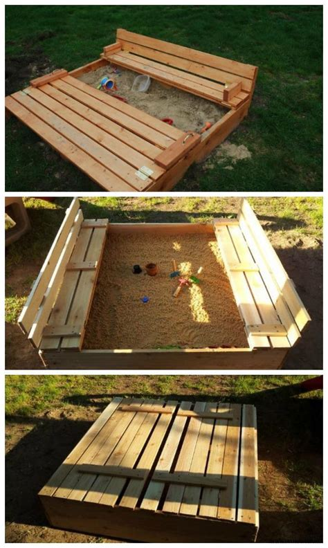 sand table with cover diy sandbox with bench cover diy sandbox projects diyhowto