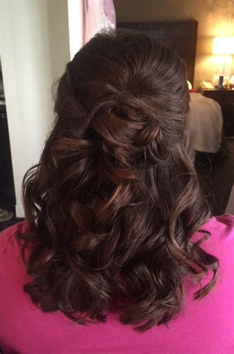 half up hairstyles for mother of the groom soft curls half up half down and half up on pinterest