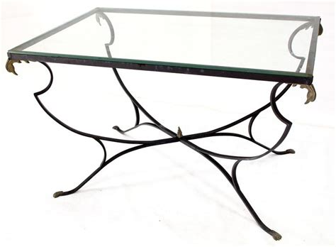 Wrought Iron Dining Tables With Glass Tops Figural Wrought Iron Brass Bird Tips Glass Top Outdoors Dining Table For Sale At 1stdibs