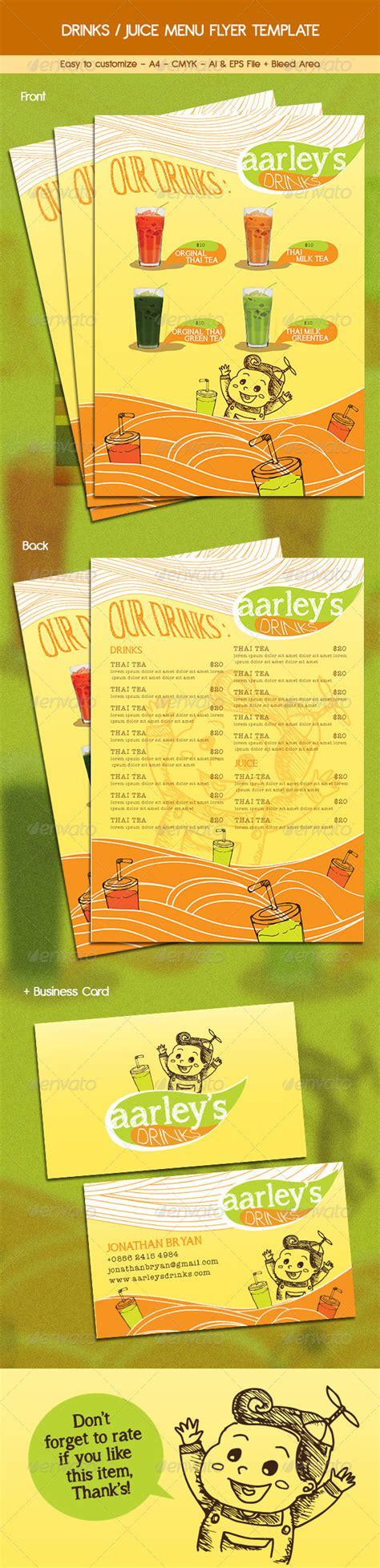 juice menu card templates drinks juice menu flyer graphicriver