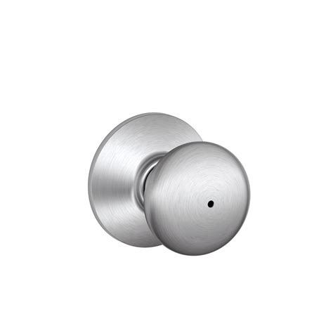 Schlage Chrome Door Knobs by Shop Schlage F Plymouth Satin Chrome Push Button