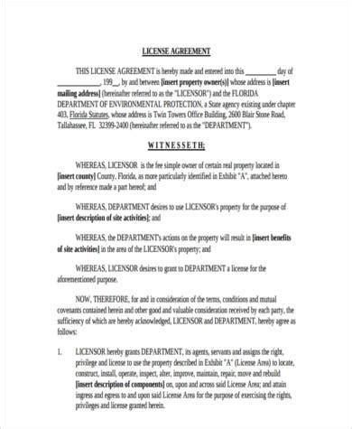 Sle License Agreement Forms 7 Free Documents In Word Pdf License Agreement Template Property