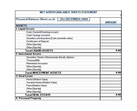 excel net worth template printable personal financial statement