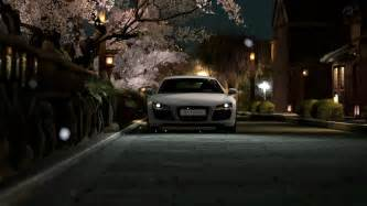 Cherry Blossoms And Maserati Audi R8 Automobiles Cars Cherry Blossoms Headlights N
