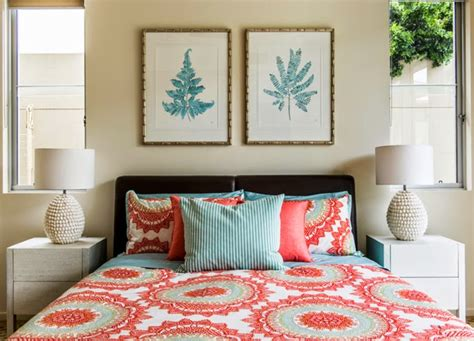 coral and turquoise bedroom highgate house