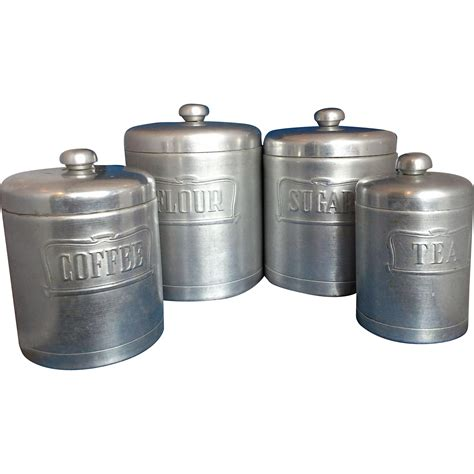 heller hostess ware spun aluminum kitchen canister set