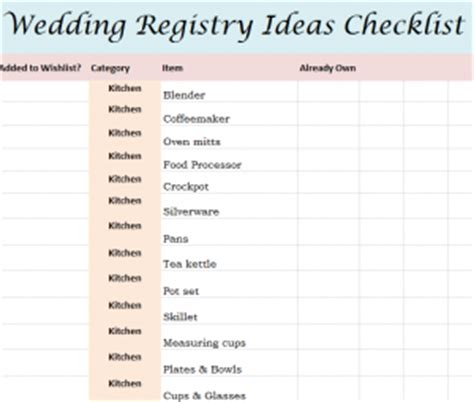 wedding shower gift list template wedding registry ideas checklist