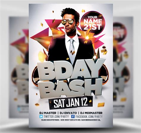 Birthday Flyers Templates by Bday Bash Flyer Template Flyerheroes