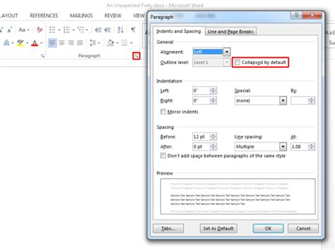 new section in word get text to expand collapse on click in ms word 2013
