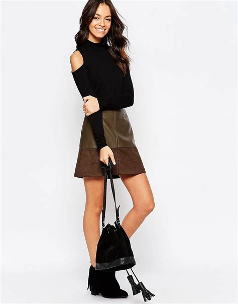 new look new look faux leather mix a line skirt at asos
