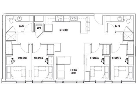 4 bedroom 2 bath floor plans 4 bed 2 bath a deluxe landmark student housing