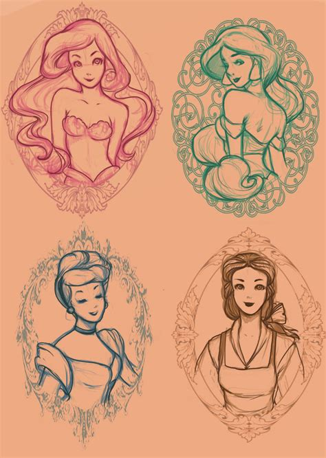 disney princess tattoos designs wip by momo deary on deviantart