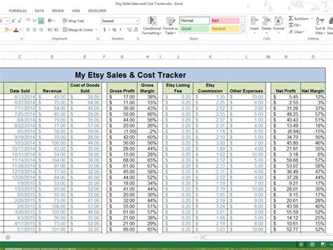 Etsy Spreadsheet by Etsy Seller Revenue Cost Tracking Template