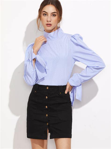 Ayura Puff Atasan Top Blouse blue striped high neck puff sleeve button back blouse emmacloth fast fashion