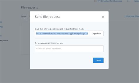 dropbox short link dropbox s file request eases receiving files and