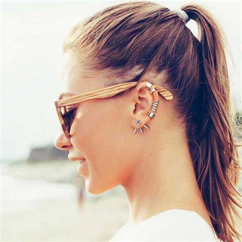 Ear Cuff modern lines geometric 925 sterling silver single ear cuff